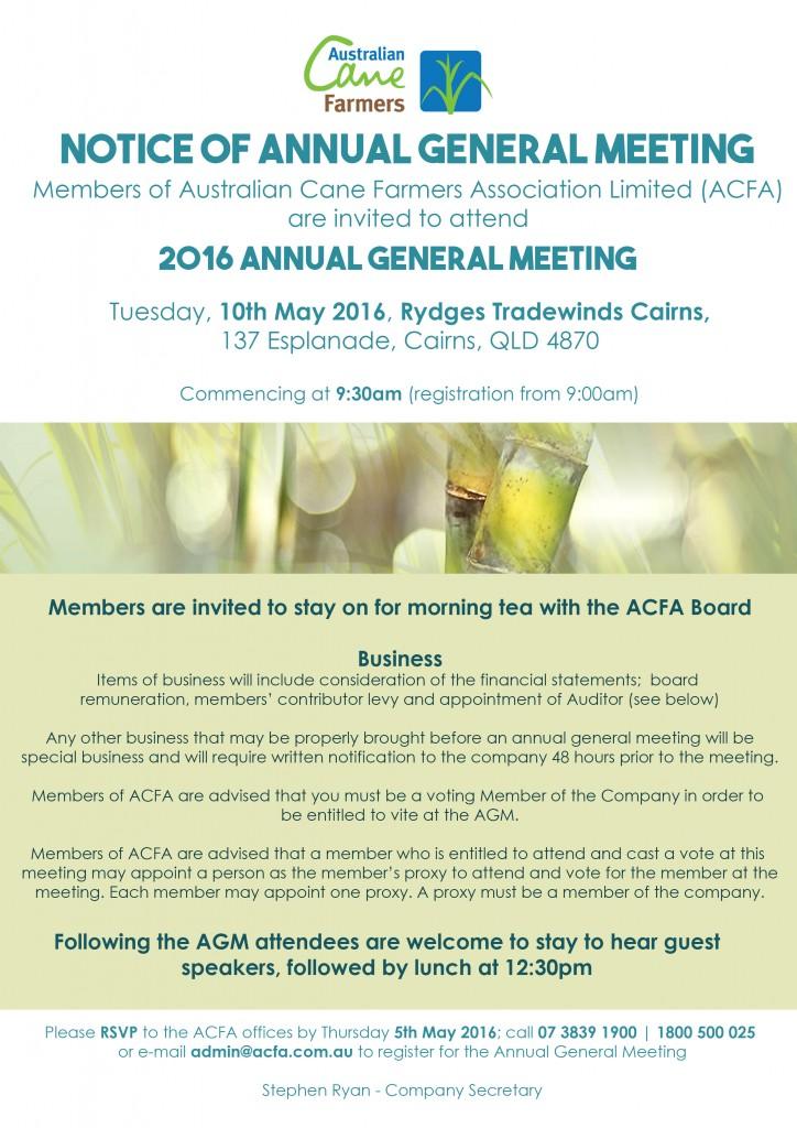 AGM Notice – Invite