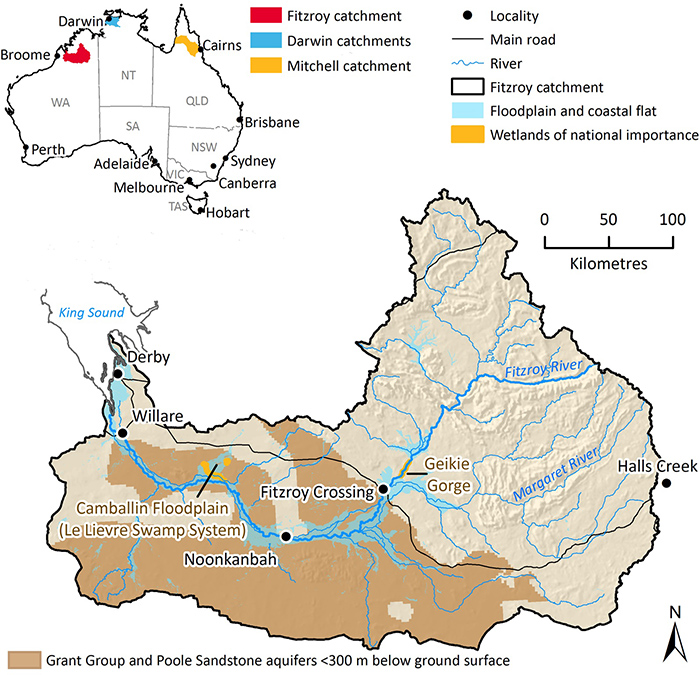 Graphic map showing the potential location for aquifers in Fitzroy River catchment in Western Australia.